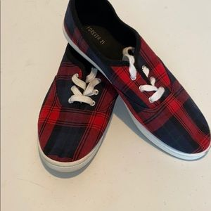 Forever 21 red plaid sneakers